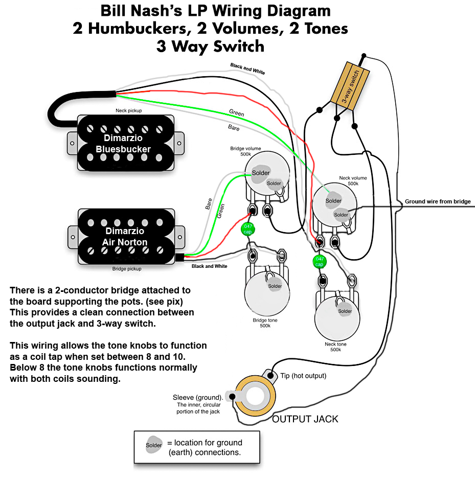 Gibson Les Paul Pickup Wiring Diagram : Nash les paul style wiring diagram mylespaul
